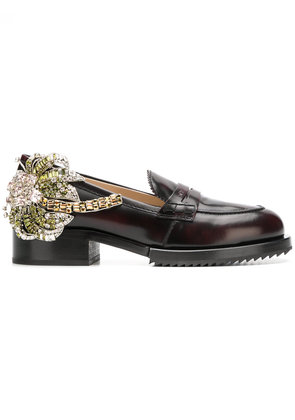 No21 crystal patch chunky loafers - Red