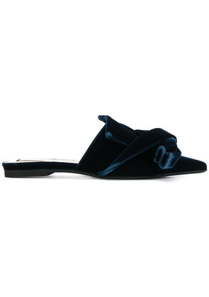 No21 bow front slippers - Blue