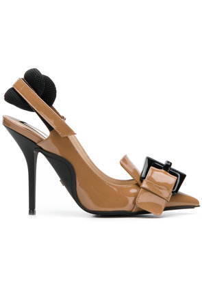 No21 oversized buckle slingback pumps - Brown