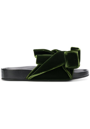 No21 oversized bow flat sandals - Green