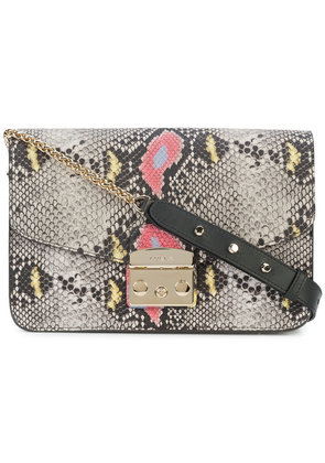 Furla snake print shoulder bag - Brown