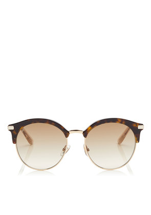 HALLY Dark Havana Round Frame Sunglasses with Perforated Star Detailing