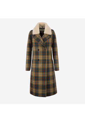 Bally Check Double Breasted Coat Multicolor, Women's wool coat in multi-color
