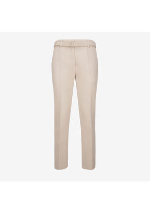 Bally Belted Trousers White, Women's cotton-blend trousers in bone