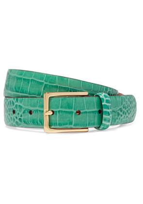 Anderson's - Croc-effect Leather Belt - Green