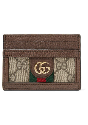 Gucci - Ophidia Textured Leather-trimmed Printed Coated-canvas Cardholder - Neutral