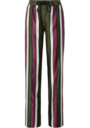 Burberry - Striped Cotton And Silk-blend Satin Straight-leg Pants - Army green