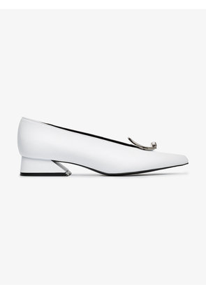 Yuul Yie white 30 buckle leather pumps
