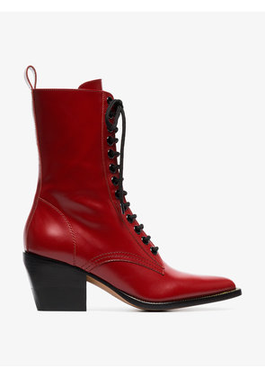 Chloé red rylee medium leather boots