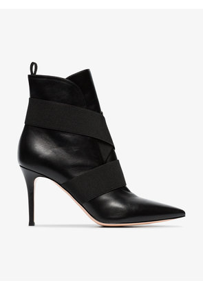 Gianvito Rossi black pilar 85 leather ankle boots