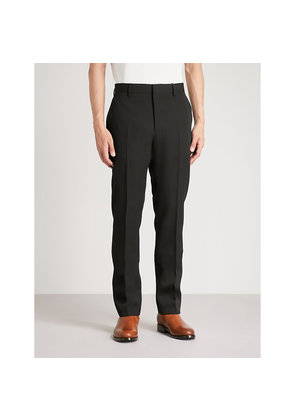 Slim-fit tapered wool trousers