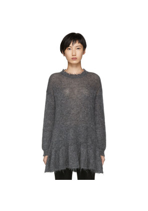 RED Valentino Grey Distressed Peplum Mohair Sweater