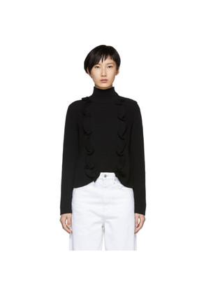 RED Valentino Black Vertical Ruffle Turtleneck