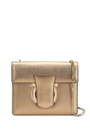 THALIA METALLIC LEATHER SHOULDER BAG