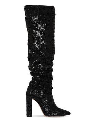 100MM ANNA SLOUCHY SEQUINED BOOTS