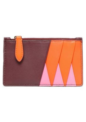 Diane Von Furstenberg Woman Color-block Leather Cardholder Burgundy Size -
