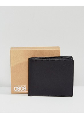 ASOS Leather Wallet In Black With Internal Coin Purse - Black