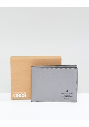 ASOS Leather Wallet In Grey With Black Details - Grey