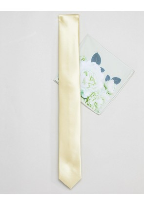 ASOS DESIGN wedding slim tie in and floral pocket square in yellow - Yellow