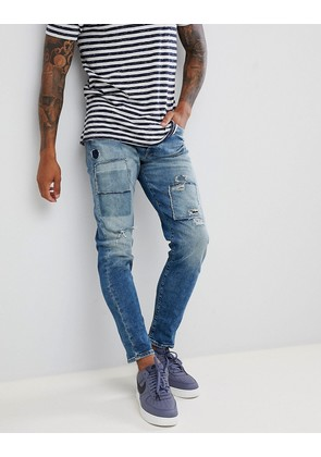 Jack & Jones Jeans In Tapered Fit With Patch Details - Blue denim