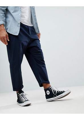 ASOS Oversized Tapered Chinos In Navy - Navy