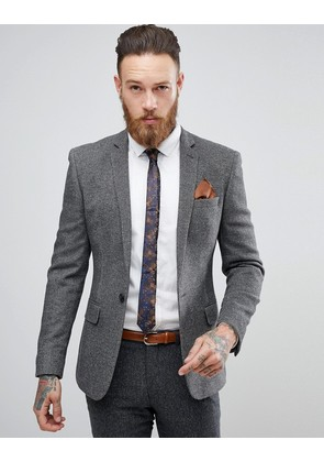 ASOS Super Skinny Texture Blazer In Charcoal Wool Mix - Charcoal