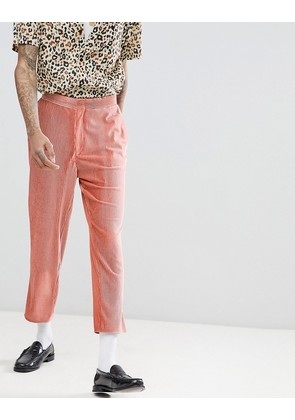 ASOS EDITION Tapered Suit Trousers In Pink Velvet Plisse Fabric With Patch Pockets - Pink