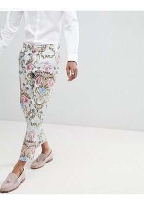 ASOS EDITION Wedding Skinny Crop Suit Trousers In Pastel Floral Jacquard - Blue