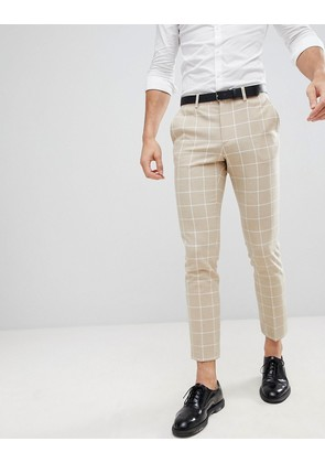ASOS DESIGN Wedding Skinny Suit Trousers In Stone Check - Stone