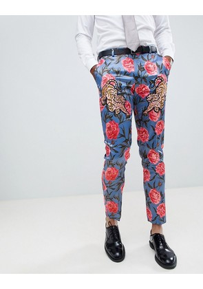ASOS EDITION Skinny Suit Trousers In Blue Floral Print With Tiger Patches - Blue