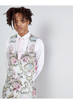 ASOS EDITION Wedding Skinny Suit Waistcoat In Pastel Floral Jacquard - Blue