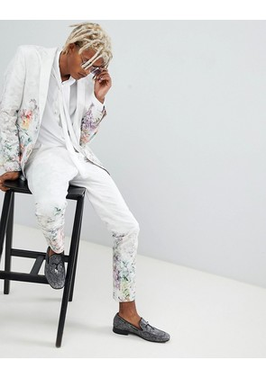 ASOS Skinny Suit Trousers In Floral Printed White Jaquard - White