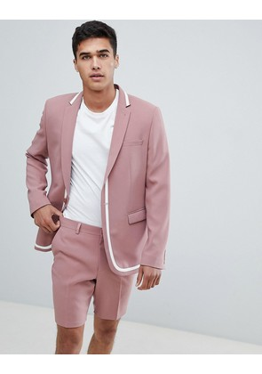 ASOS Skinny Suit Jacket In Pink with White Trim - Pink