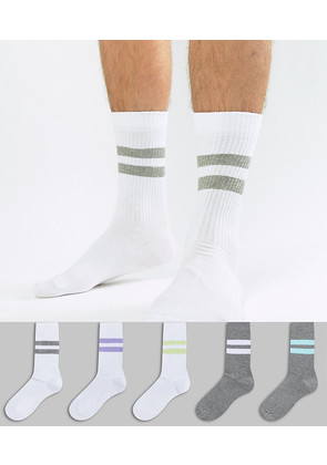 ASOS Sports Style Socks In Summer Weight In White & Grey With Faded Stripes 5 Pack - Multi