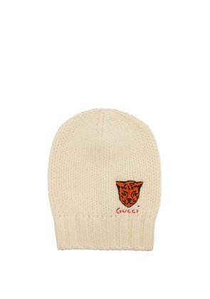 Tiger-embroidered beanie hat