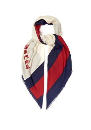 Logo-knit striped scarf
