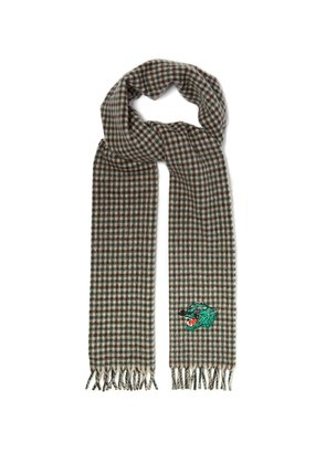 Panther-embroidered checked scarf