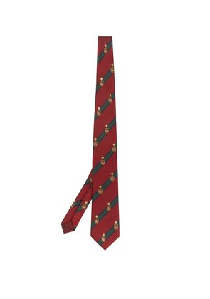 Logo-embroidered silk-blend tie