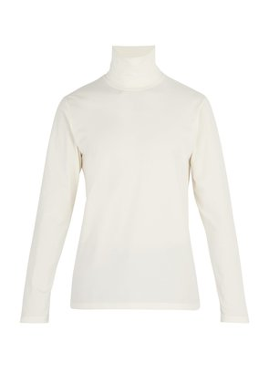 Stretch-cotton roll-neck top