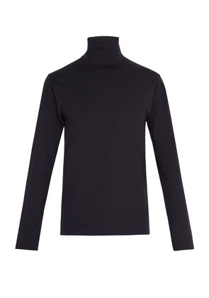 Classic roll-neck stretch-cotton top