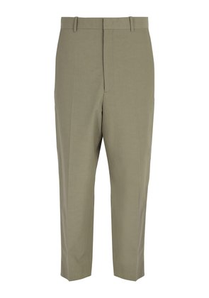 High-rise cotton-blend trousers