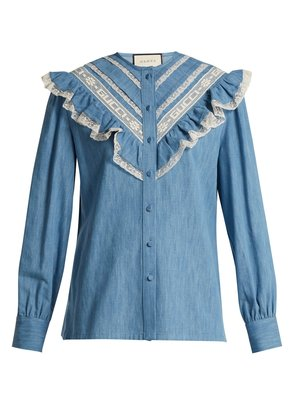 Lace-trimmed ruffle cotton-chambray blouse