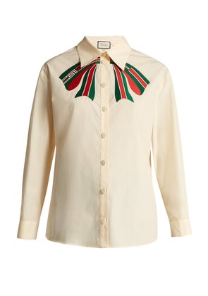 Trompe l'oeil bow cotton-poplin shirt