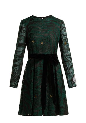 Animal eye and print-embroidered tulle dress