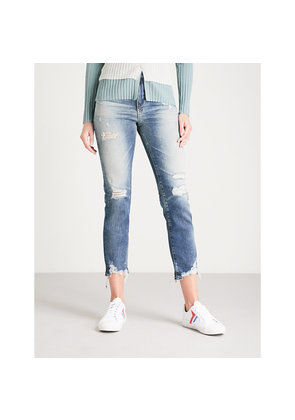Isabelle distressed straight high-rise jeans