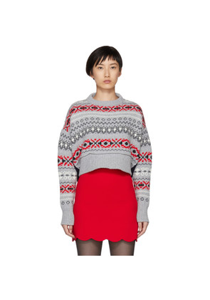 Miu Miu Grey Wool Patterned Sweater