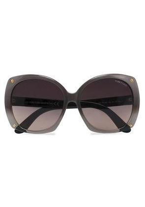 6c8f996bcfb98 Tom Ford Woman Butterfly-frame Acetate And Gold-tone Sunglasses Taupe Size -