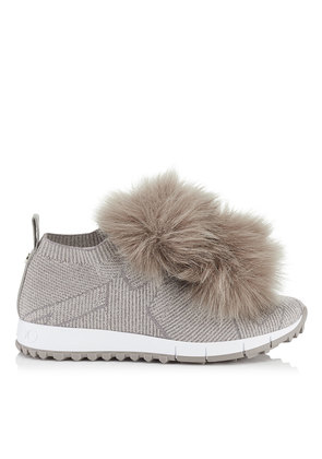 NORWAY Opal Grey Knit and Lurex Trainers with Faux Fur Pom Poms