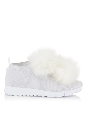 NORWAY White Knit and Lurex Trainers with White Faux Fur Pom Poms