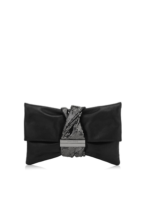 CHANDRA/M Black Metallic Leather Clutch Bag with Chainmail Bracelet